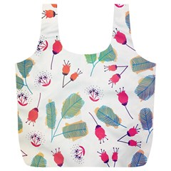 Hand Drawn Flowers Background Full Print Recycle Bags (l)