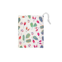 Hand Drawn Flowers Background Drawstring Pouches (xs)