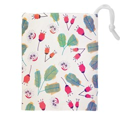 Hand Drawn Flowers Background Drawstring Pouches (xxl)