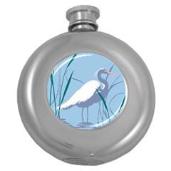 Egret Round Hip Flask (5 Oz) by WaltCurleeArt