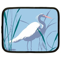 Egret Netbook Case (large) by WaltCurleeArt