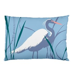 Egret Pillow Case (two Sides) by WaltCurleeArt