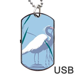 Egret Dog Tag Usb Flash (two Sides)  by WaltCurleeArt