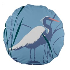 Egret Large 18  Premium Round Cushions by WaltCurleeArt