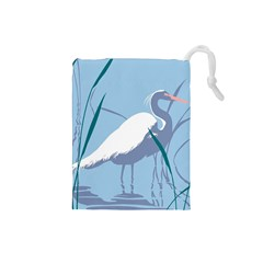 Egret Drawstring Pouches (small)  by WaltCurleeArt