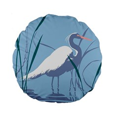 Egret Standard 15  Premium Flano Round Cushions by WaltCurleeArt