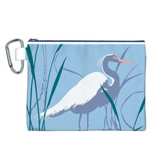 Egret Canvas Cosmetic Bag (l) by WaltCurleeArt