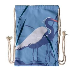 Egret Drawstring Bag (large) by WaltCurleeArt