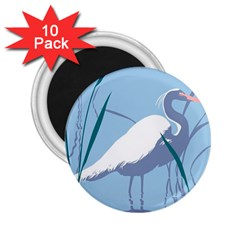 Egret 2 25  Magnets (10 Pack)  by WaltCurleeArt