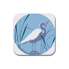Egret Rubber Coaster (square)  by WaltCurleeArt