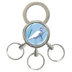 Egret 3 Ring Key Chains by WaltCurleeArt