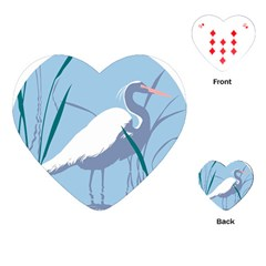 Egret Playing Cards (heart)  by WaltCurleeArt