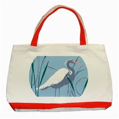 Egret Classic Tote Bag (red) by WaltCurleeArt