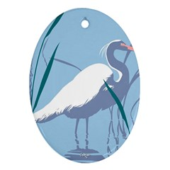 Egret Oval Ornament (two Sides) by WaltCurleeArt