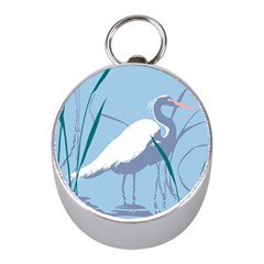 Egret Mini Silver Compasses by WaltCurleeArt