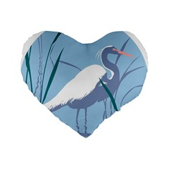 Egret Standard 16  Premium Flano Heart Shape Cushions by WaltCurleeArt
