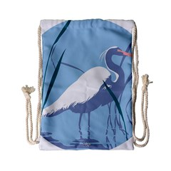 Egret Drawstring Bag (small) by WaltCurleeArt