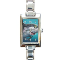 Sharky Rectangle Italian Charm Watch by WaltCurleeArt