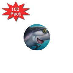 Sharky 1  Mini Buttons (100 Pack)  by WaltCurleeArt