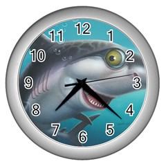 Sharky Wall Clocks (silver)  by WaltCurleeArt