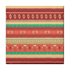 Hand Drawn Ethnic Shapes Pattern Tile Coasters
