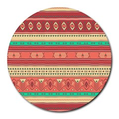 Hand Drawn Ethnic Shapes Pattern Round Mousepads by TastefulDesigns
