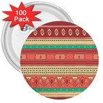 Hand Drawn Ethnic Shapes Pattern 3  Buttons (100 pack)  Front