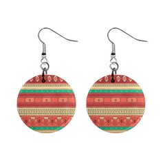 Hand Drawn Ethnic Shapes Pattern Mini Button Earrings by TastefulDesigns