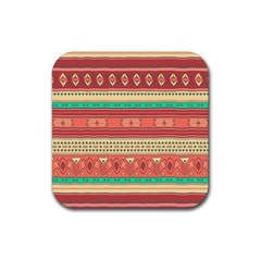 Hand Drawn Ethnic Shapes Pattern Rubber Coaster (square)  by TastefulDesigns