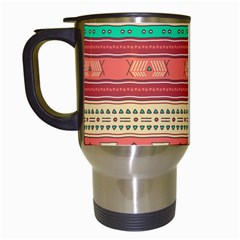 Hand Drawn Ethnic Shapes Pattern Travel Mugs (white)