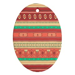 Hand Drawn Ethnic Shapes Pattern Oval Ornament (two Sides) by TastefulDesigns