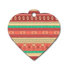Hand Drawn Ethnic Shapes Pattern Dog Tag Heart (two Sides)