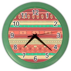 Hand Drawn Ethnic Shapes Pattern Color Wall Clocks by TastefulDesigns