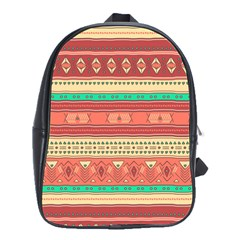 Hand Drawn Ethnic Shapes Pattern School Bags(large)