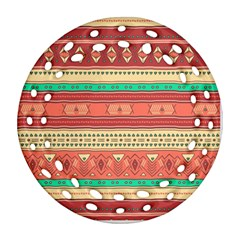 Hand Drawn Ethnic Shapes Pattern Round Filigree Ornament (2side)