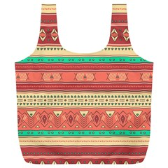 Hand Drawn Ethnic Shapes Pattern Full Print Recycle Bags (l)