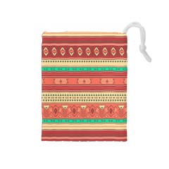 Hand Drawn Ethnic Shapes Pattern Drawstring Pouches (medium)