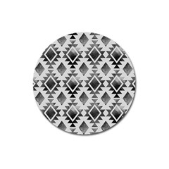 Hand Painted Black Ethnic Pattern Magnet 3  (round)