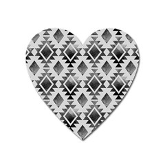 Hand Painted Black Ethnic Pattern Heart Magnet
