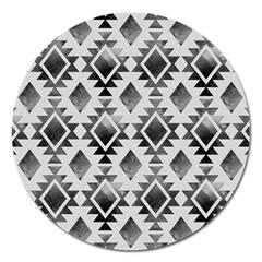 Hand Painted Black Ethnic Pattern Magnet 5  (round) by TastefulDesigns