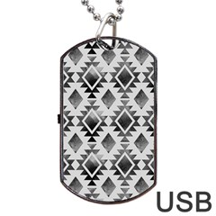 Hand Painted Black Ethnic Pattern Dog Tag Usb Flash (one Side) by TastefulDesigns
