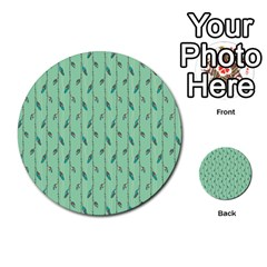 Seamless Lines And Feathers Pattern Multi Purpose Cards (round)