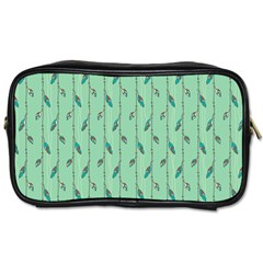 Seamless Lines And Feathers Pattern Toiletries Bags 2 Side by TastefulDesigns
