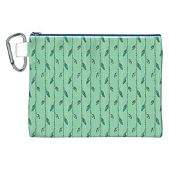 Seamless Lines And Feathers Pattern Canvas Cosmetic Bag (xxl)  by TastefulDesigns