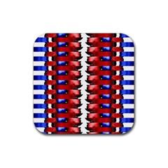 The Patriotic Flag Rubber Square Coaster (4 Pack)  by SugaPlumsEmporium