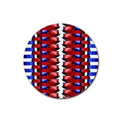 The Patriotic Flag Rubber Coaster (round)  by SugaPlumsEmporium