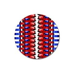 The Patriotic Flag Magnet 3  (round) by SugaPlumsEmporium