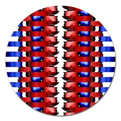 The Patriotic Flag Magnet 5  (round) by SugaPlumsEmporium