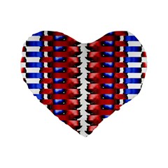 The Patriotic Flag Standard 16  Premium Flano Heart Shape Cushions by SugaPlumsEmporium