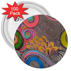 Rainbow Passion 3  Buttons (100 Pack)  by SugaPlumsEmporium